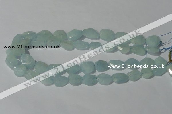 CAQ211 15.5 inches 16*18mm faceted nugget natural aquamarine beads