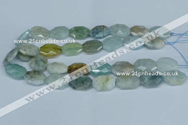 CAQ591 15.5 inches 18*25mm faceted freeform aquamarine beads