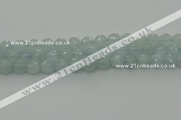 CAQ822 15.5 inches 10mm faceted round aquamarine beads wholesale