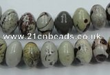 CAR14 15.5 inches 8*12mm rondelle artistic jasper beads wholesale