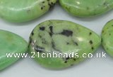 CAU229 15.5 inches 22*30mm flat teardrop Australia chrysoprase beads