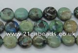 CAZ05 15.5 inches 10mm flat round natural azurite gemstone beads