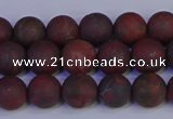 CBD362 15.5 inches 8mm round matte poppy jasper beads wholesale