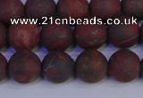 CBD363 15.5 inches 10mm round matte poppy jasper beads wholesale