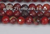 CBD375 15.5 inches 4mm faceted round poppy jasper beads