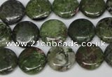 CBG36 15.5 inches 16mm flat round bronze green gemstone beads
