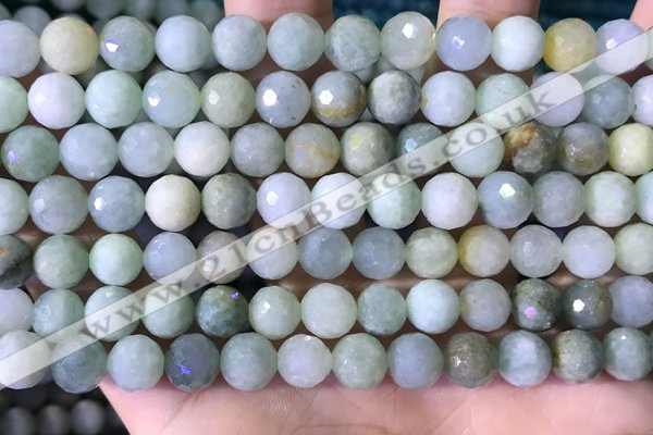CBJ667 15.5 inches 8mm faceted round jade beads wholesale
