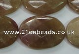CBQ255 15.5 inches 22*30mm faceted oval strawberry quartz beads