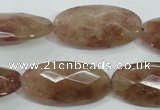 CBQ258 15.5 inches 15*30mm faceted marquise strawberry quartz beads