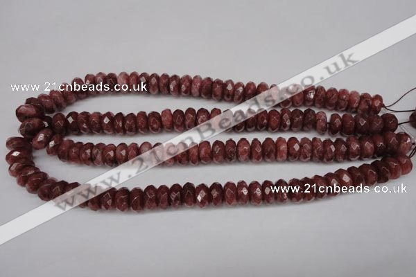 CBQ266 15.5 inches 6*10mm faceted rondelle strawberry quartz beads