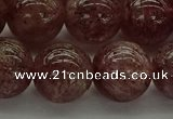 CBQ315 15.5 inches 14mm round natural strawberry quartz beads