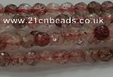 CBQ320 15.5 inches 4mm faceted round strawberry quartz beads