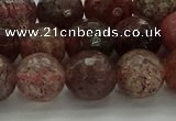 CBQ323 15.5 inches 10mm faceted round strawberry quartz beads