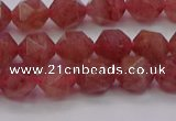 CBQ432 15.5 inches 8mm faceted nuggets strawberry quartz beads