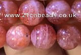CBQ560 15.5 inches 8mm round golden strawberry quartz beads