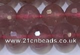 CBQ702 15.5 inches 8mmm faceted round strawberry quartz beads
