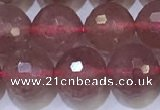 CBQ703 15.5 inches 10mmm faceted round strawberry quartz beads