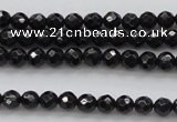 CBS503 15.5 inches 4mm faceted round A grade black spinel beads