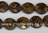 CBZ431 15.5 inches 15mm faceted coin bronzite gemstone beads
