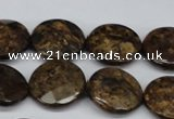 CBZ432 15.5 inches 18mm faceted coin bronzite gemstone beads