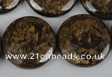 CBZ434 15.5 inches 25mm faceted coin bronzite gemstone beads
