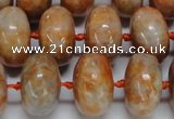 CCA460 15.5 inches 10*16mm rondelle orange calcite gemstone beads