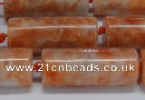 CCA466 15.5 inches 12*30mm tube orange calcite gemstone beads