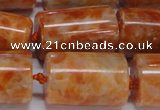 CCA467 15.5 inches 15*22mm tube orange calcite gemstone beads