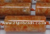 CCA468 15.5 inches 15*40mm tube orange calcite gemstone beads