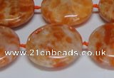 CCA477 15.5 inches 25mm flat round orange calcite gemstone beads