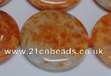 CCA479 15.5 inches 35mm flat round orange calcite gemstone beads