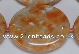 CCA488 15.5 inches 32*37mm oval orange calcite gemstone beads