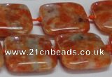 CCA493 15.5 inches 20mm square orange calcite gemstone beads
