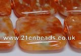 CCA495 15.5 inches 30mm square orange calcite gemstone beads