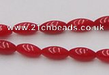 CCB132 15.5 inches 4*7mm rice red coral beads strand wholesale