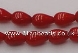 CCB140 15.5 inches 5*8mm teardrop red coral beads wholesale