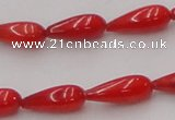 CCB142 15.5 inches 5*12mm teardrop red coral beads wholesale