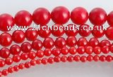 CCB15 5pcs 15.5 inches round shape red coral beads Wholesale