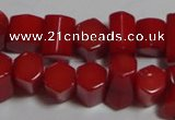 CCB54 15.5 inches 5*8mm faceted column red coral beads Wholesale