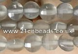 CCB541 15.5 inches 4mm faceted coin grey moonstone beads