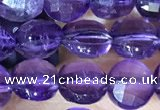 CCB600 15.5 inches 6mm faceted coin natural amethyst gemstone beads