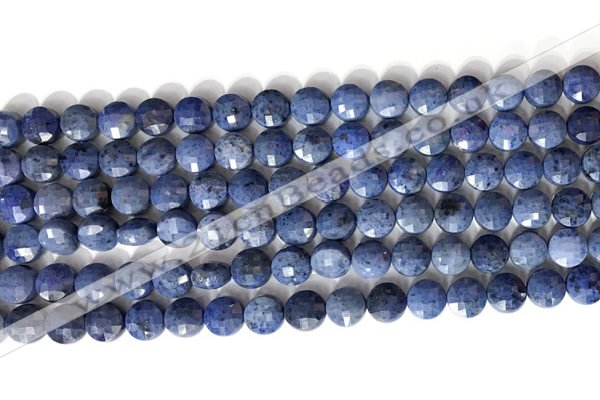 CCB760 15.5 inches 8mm faceted coin blue dumortierite beads