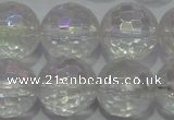 CCC414 15.5 inches 12mm faceted round AB-color white crystal beads