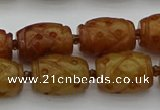 CCJ324 15.5 inches 12*16mm - 13*18mm carved drum China jade beads