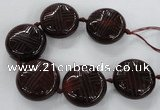 CCJ362 40mm carved coin China jade beads wholesale