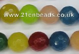 CCN1985 15 inches 14mm faceted round candy jade beads wholesale
