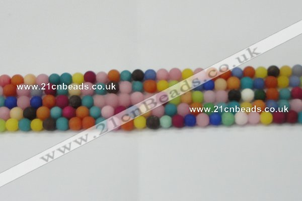 CCN2552 15.5 inches 6mm round mixed color matte candy jade beads