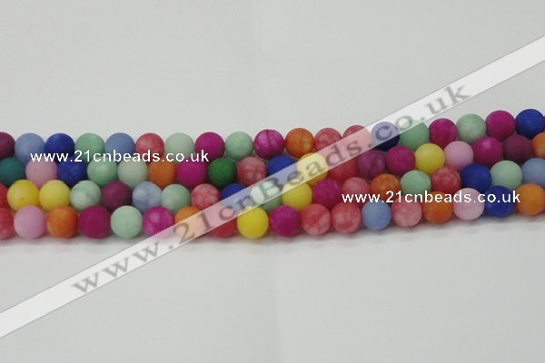 CCN2554 15.5 inches 10mm round mixed color matte candy jade beads