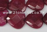 CCN359 15.5 inches 20*20mm faceted heart candy jade beads wholesale