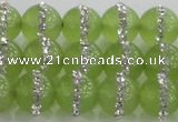 CCN4623 15.5 inches 12mm round candy jade with rhinestone beads